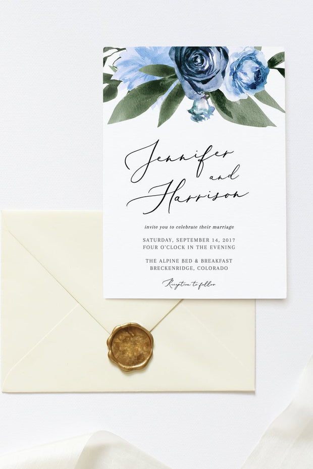 Milena - Dusty Blue Floral Wedding Invitation Template Suite - Unmeasured Events