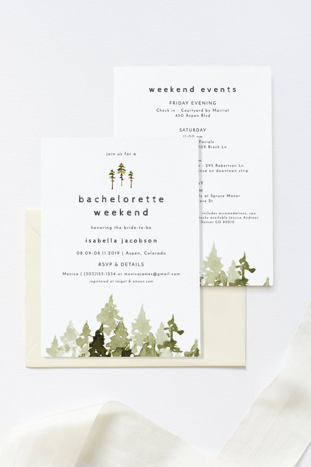 Jenna - Rustic Pine Tree Bachelorette Weekend Invitation & Itinerary Template