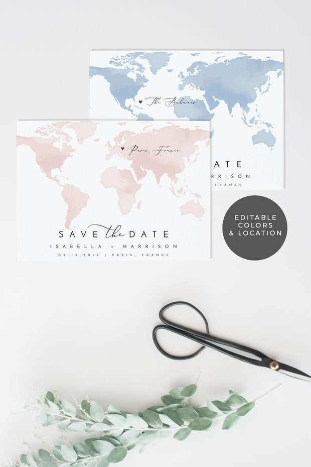 Carmen - Watercolor Map Destination Save the Date Template