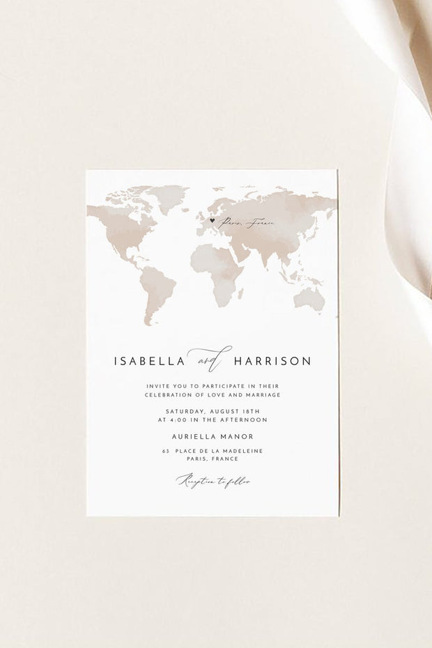 Carmen - Watercolor Map Destination Wedding Invitation Suite Templates - Unmeasured Events