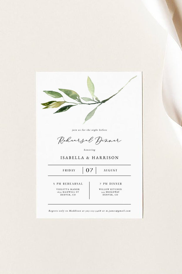 Isabella - Minimal Greenery Wedding Rehearsal Dinner Invitation Template - Unmeasured Events