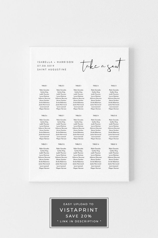 Adella - Modern Minimalist Table Seating Chart Template