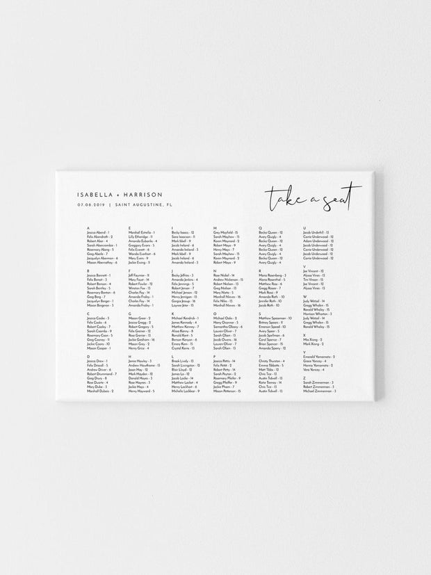 Adella - Modern Minimalist Alphabetical Wedding Seating Chart Template - Unmeasured Events