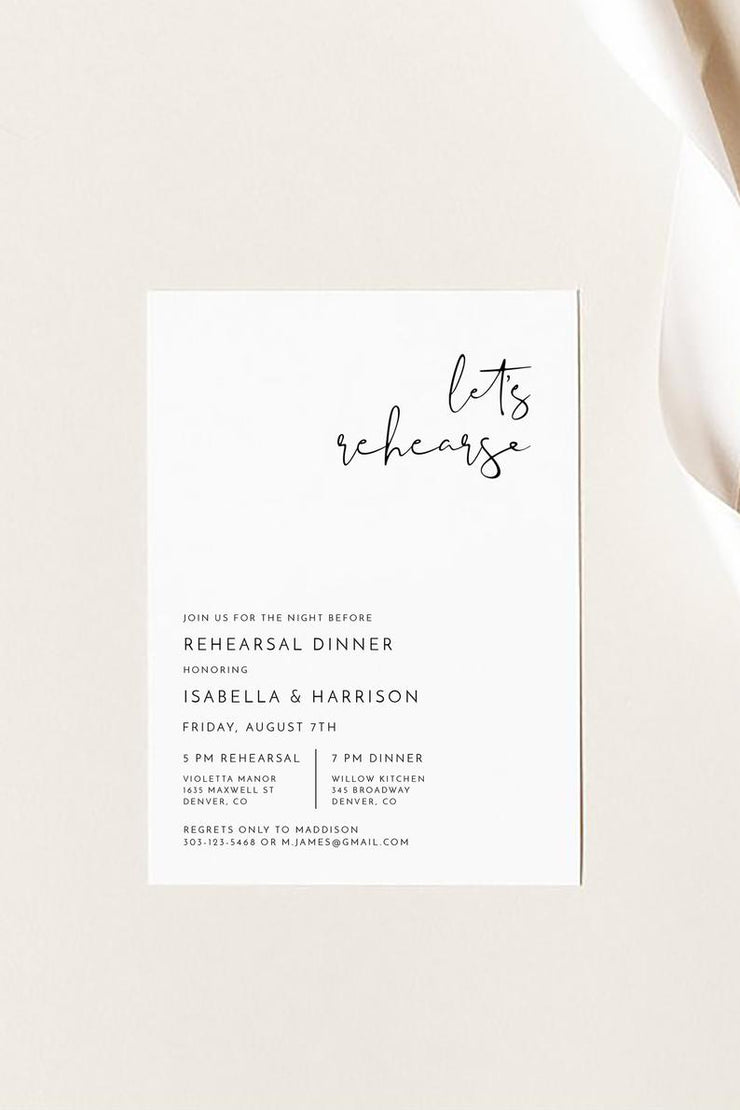 Adella - Modern Minimalist Wedding Rehearsal Dinner Invitation Template - Unmeasured Events