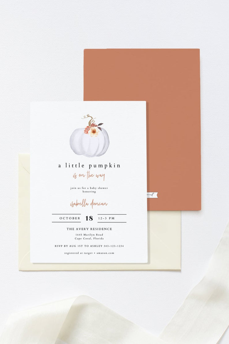 Amber - Pumpkin Baby Shower Invitation Template - Unmeasured Events