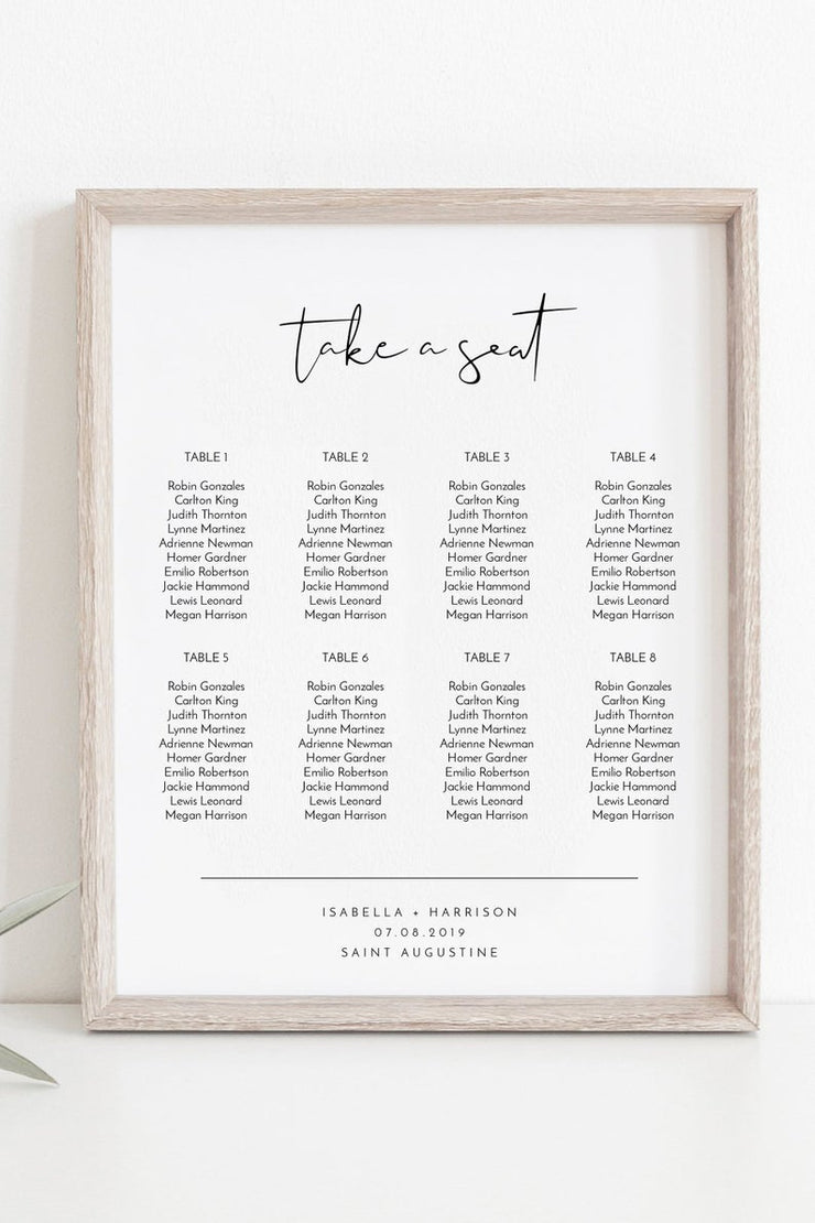 Adella - Modern Minimalist Wedding Small Seating Chart Template - Unmeasured Events