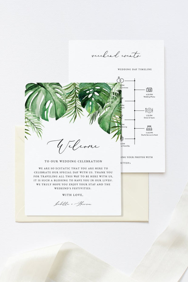 Cora - Modern Palm Tropical Welcome Letter & Timeline Template - Unmeasured Events