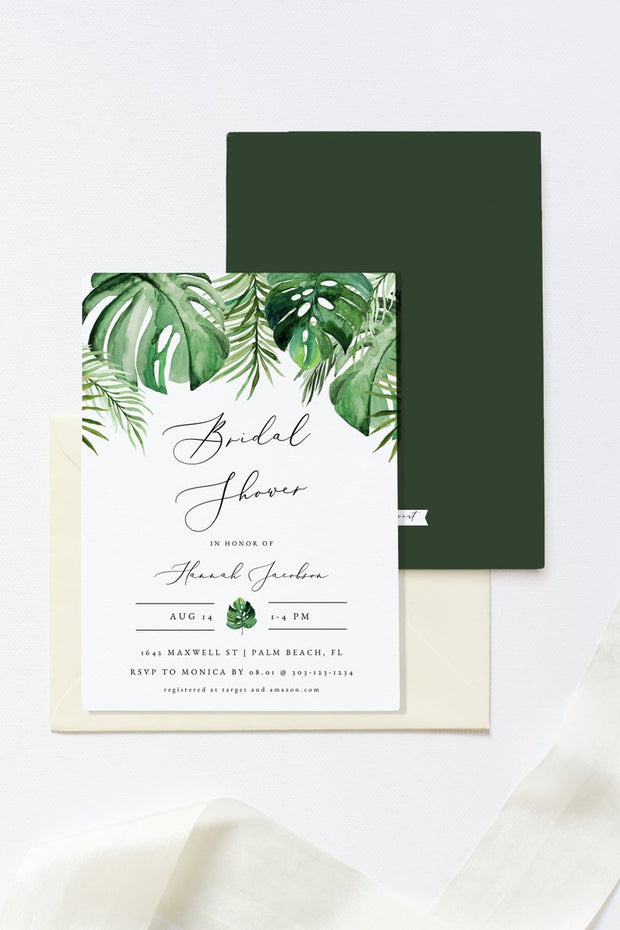 Cora - Modern Palm Tropical Bridal Shower Invitation Template - Unmeasured Events