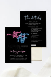 Neon Lit AF Bachelorette Invitation Template - Unmeasured Events