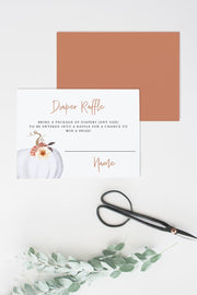 Amber - Pumpkin Baby Shower Diaper Raffle Card - Unmeasured Events