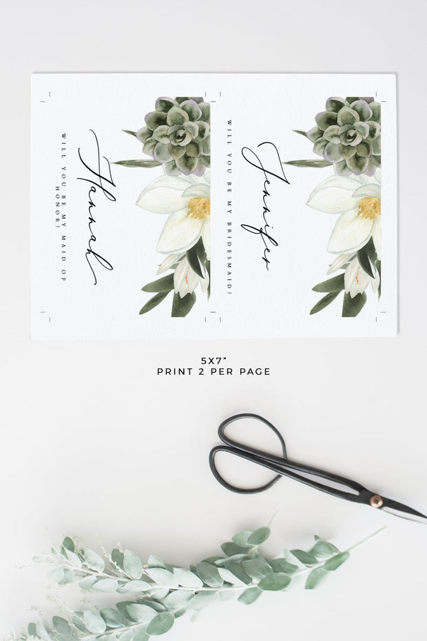 Cara - White Magnolia and Succulent Bridesmaid Proposal Card Template