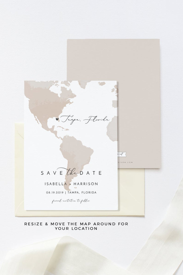 Carmen - Watercolor Map Destination Wedding Save the Date Template - Unmeasured Events