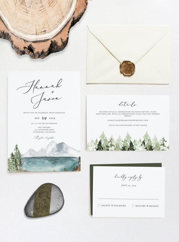 Clover - Mountain Lake Wedding Invitation 3 Piece Suite Templates