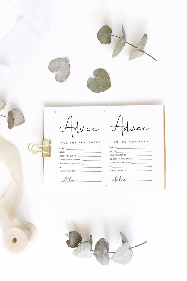 Adella - Modern Minimalist Newlywed Advice Card Template - Unmeasured Events