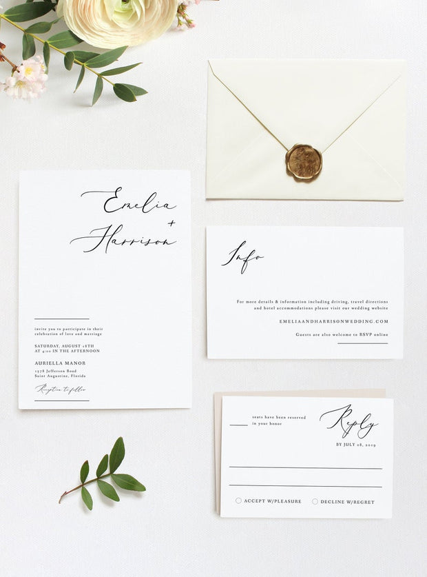Evelyn - Elegant Minimal Wedding 3 Piece Suite Templates Printable - Unmeasured Events