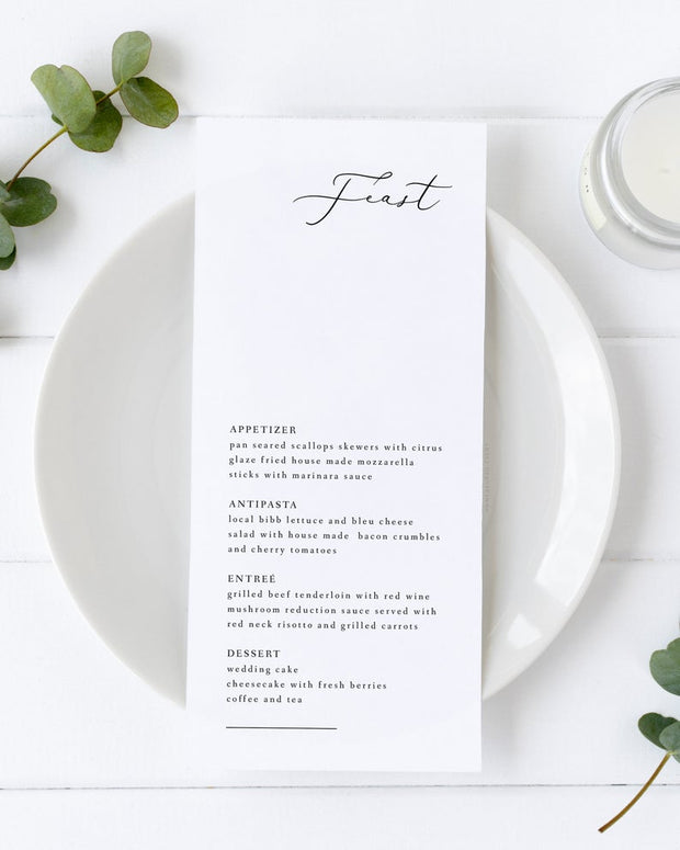 Evelyn - Elegant Minimal Wedding Menu Template - Unmeasured Events