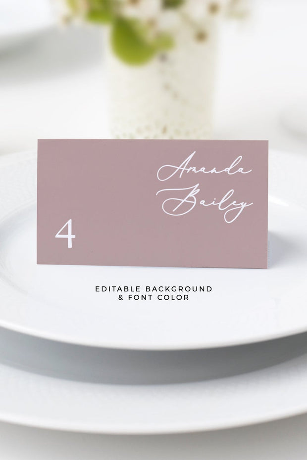 Evelyn - Elegant Minimal Wedding Place Card Template - Unmeasured Events