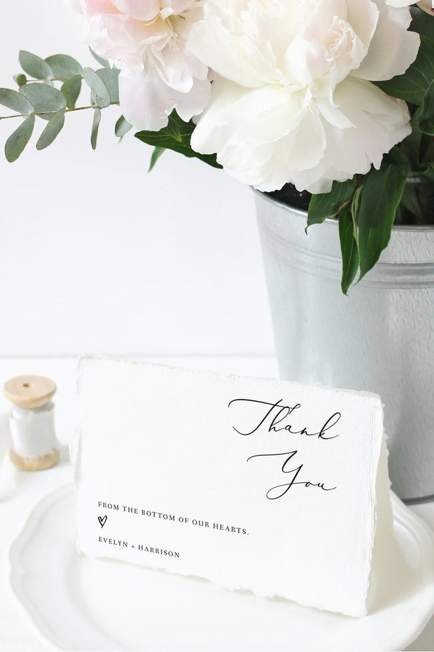 Evelyn - Elegant Minimal Wedding Thank You Card Template - Unmeasured Events