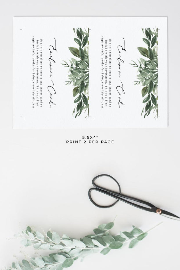 Lana - Watercolor Greenery Wedding Enclosure Template - Unmeasured Events