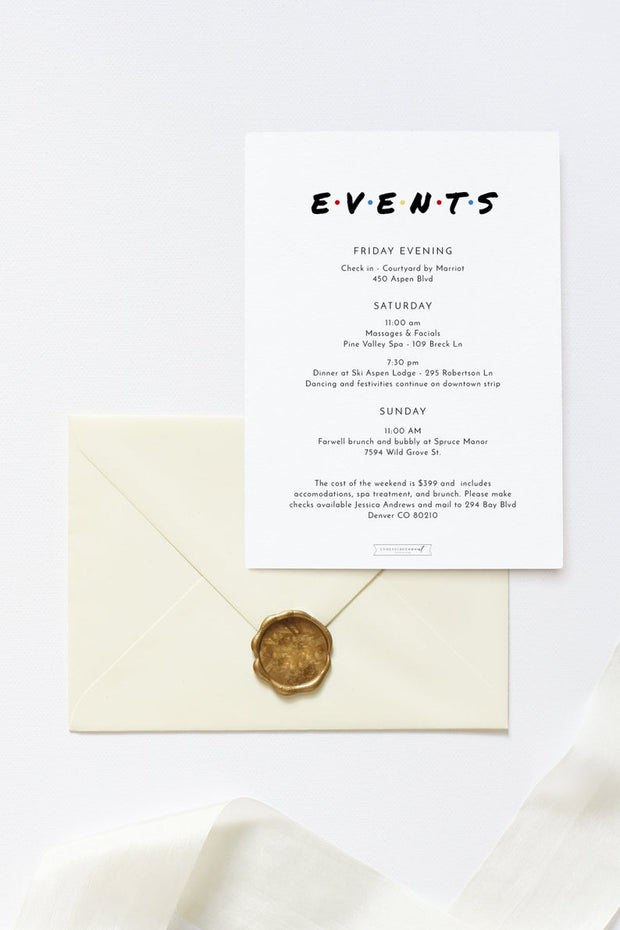 Rachel - Modern Friend Themed Bachelorette Invitation & Itinerary Template - Unmeasured Events