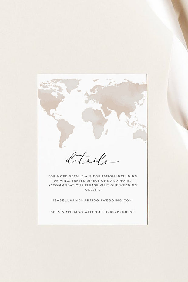 Carmen - Watercolor Map Wedding Details Enclosure Card Template Printable - Unmeasured Events
