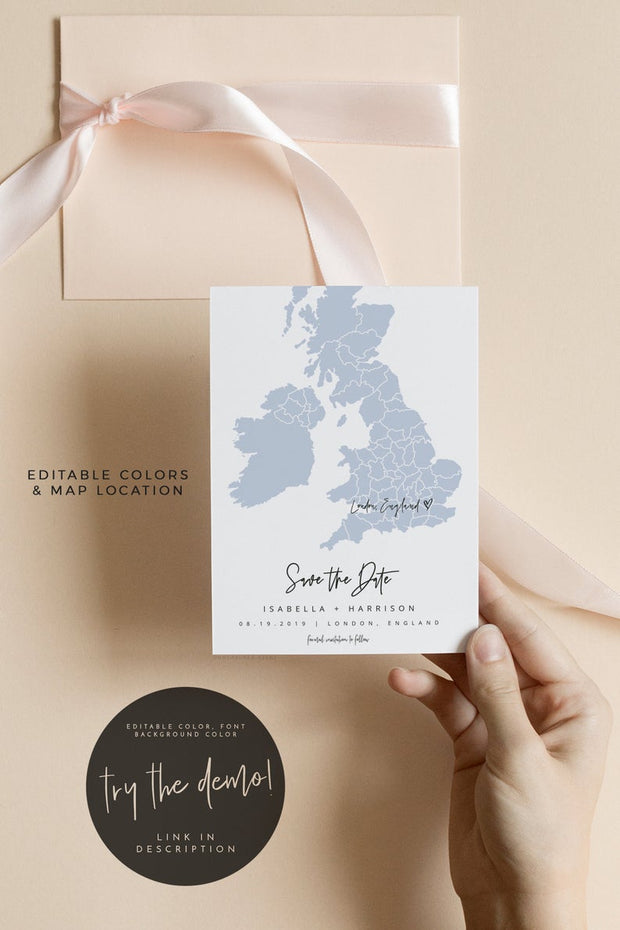 Quinn - Rose Gold Ireland Scotland and UK Map Save the Date Template - Unmeasured Events