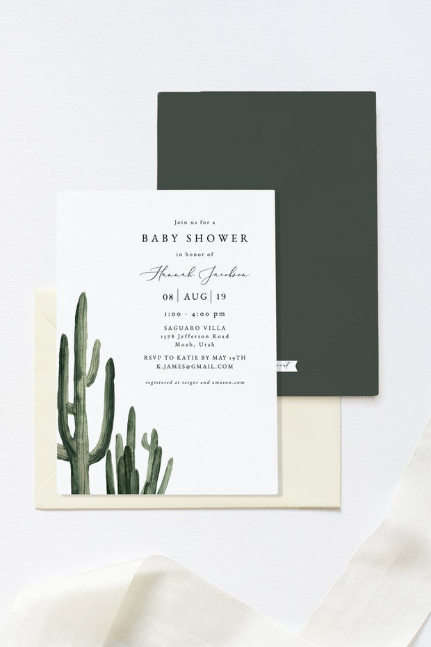 Eleanor - Bohemian Cactus Baby Shower Invitation Template Suite - Unmeasured Events