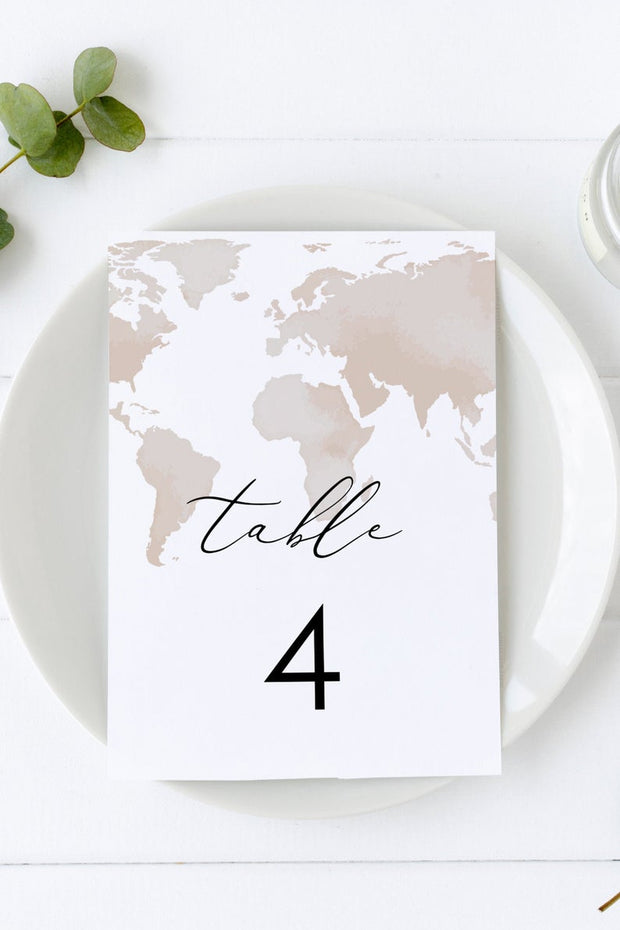 Carmen - Watercolor Map Destination Wedding Table Number Template - Unmeasured Events