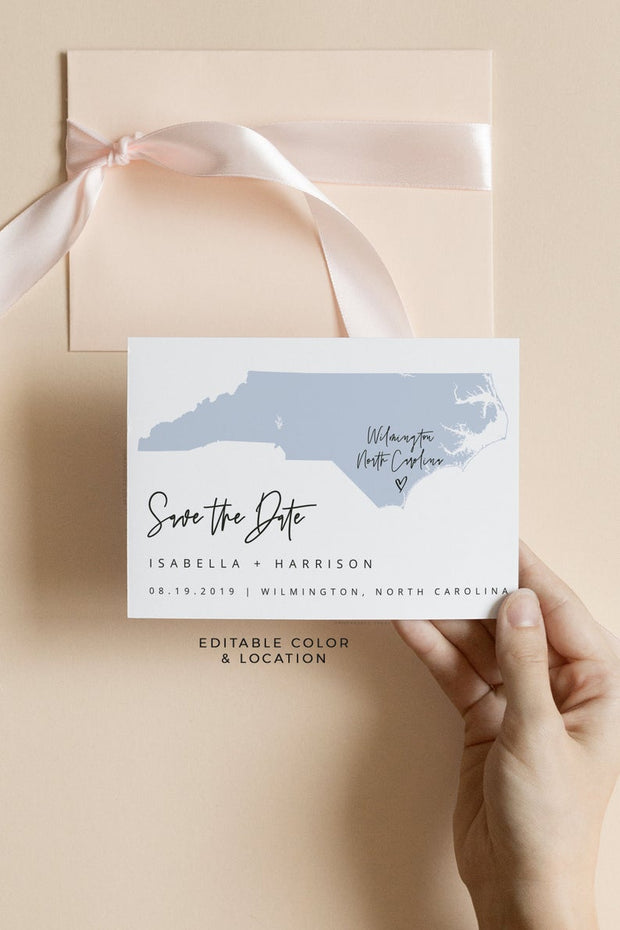 Quinn - Rose Gold North Carolina Map Postcard Save the Date Template - Unmeasured Events