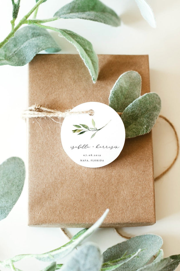 Isabella - Minimal Greenery Round Tag or Sticker Template - Unmeasured Events