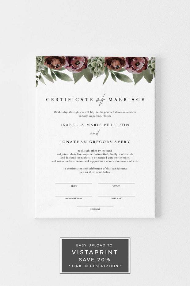 Ava - Boho Burgundy & Succulent Marriage Certificate Template