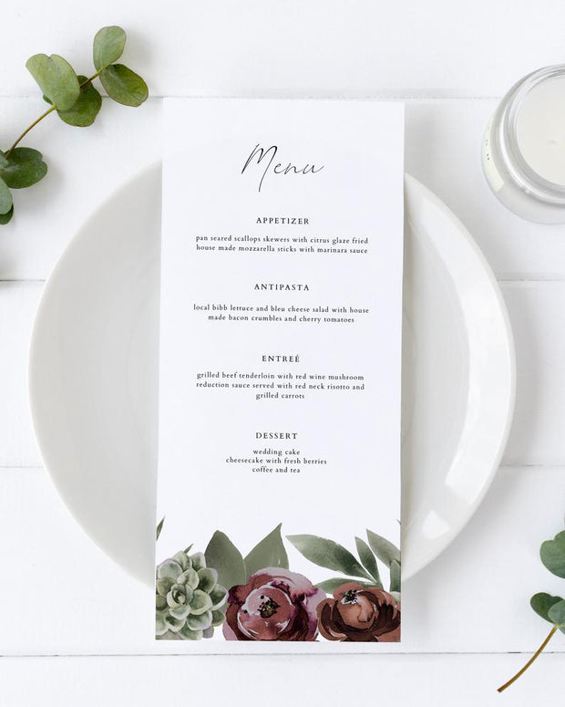 Ava - Boho Burgundy & Succulent Wedding Menu Template