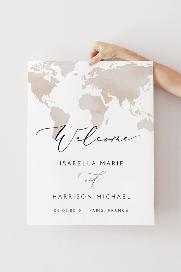 Carmen - Watercolor Map Destination Wedding Welcome Sign Template