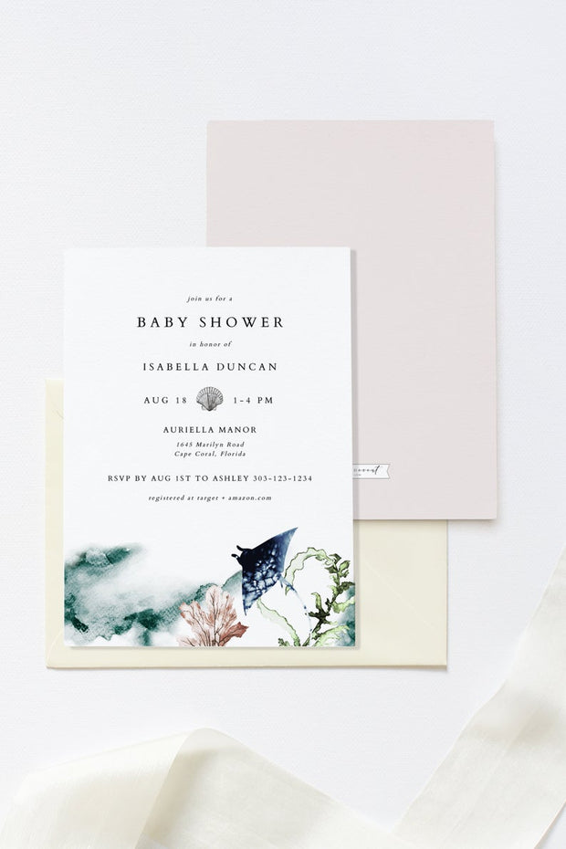 Ariel - Ocean Tropical Baby Shower Invitation Template - Unmeasured Events