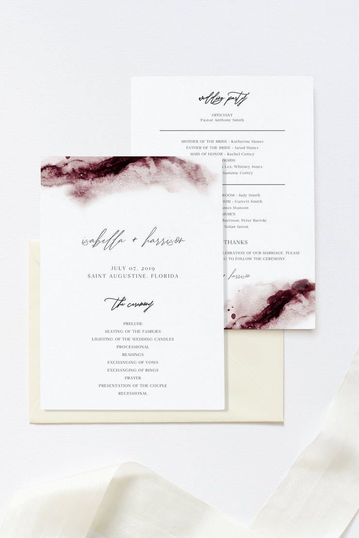 Scarlett - Abstract Burgundy Watercolor Wedding Program Template - Unmeasured Events