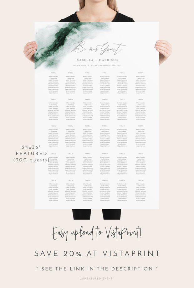 Emerald - Abstract Green Watercolor Wedding Seating Chart Template