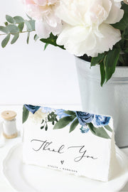 Milena - Dusty Blue Floral Thank You Card Template Printable - Unmeasured Events