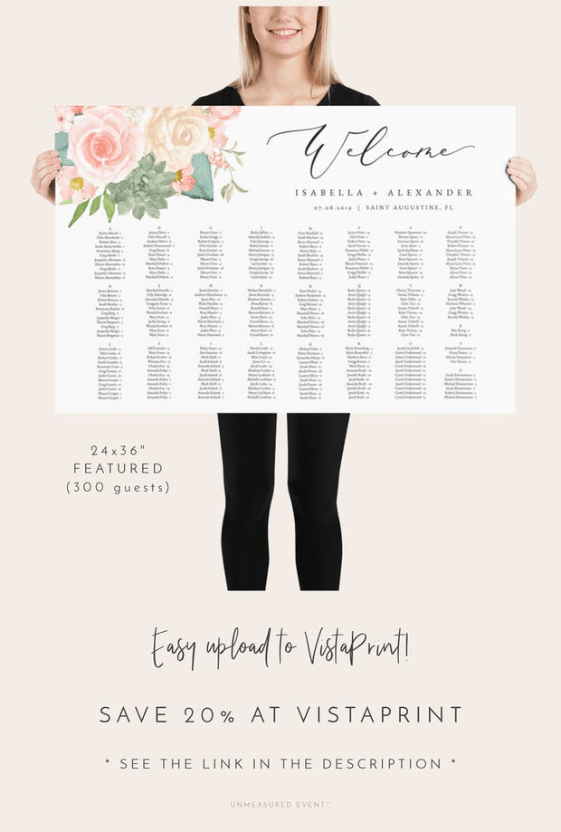 Finley - Rustic Peach Floral & Succulent Wedding Alphabetical Seating Chart Template