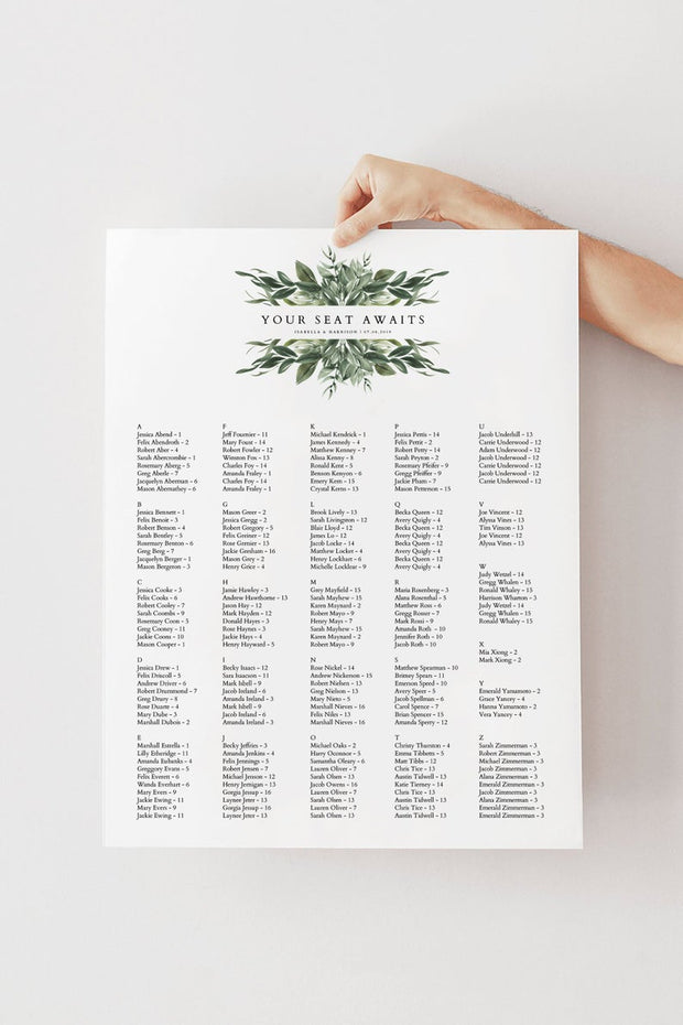 Lana - Modern Greenery Wedding Alphabetical Seating Chart Template - Unmeasured Events