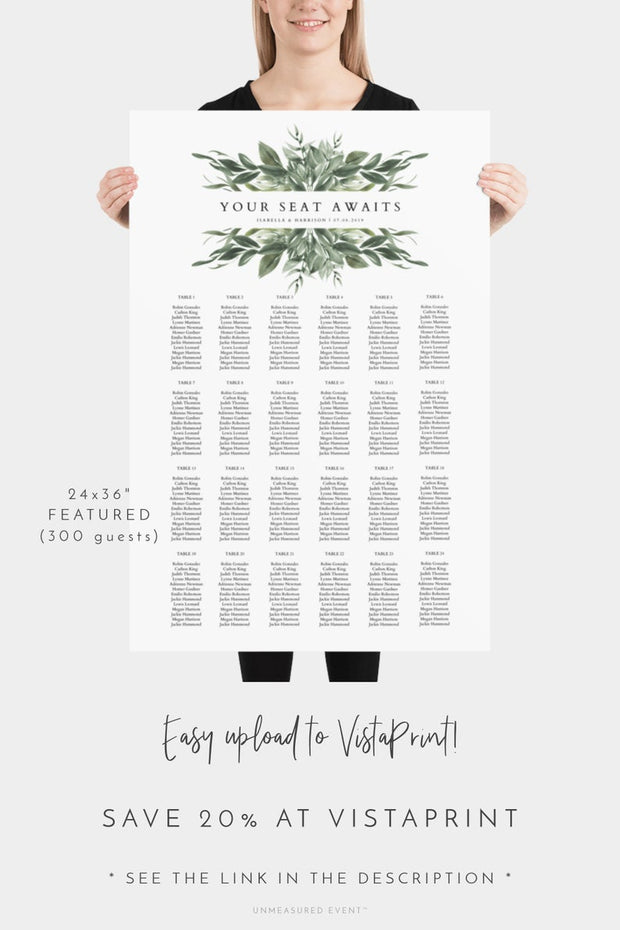 Lana Modern Greenery Wedding Table Seating Chart Template - Unmeasured Events