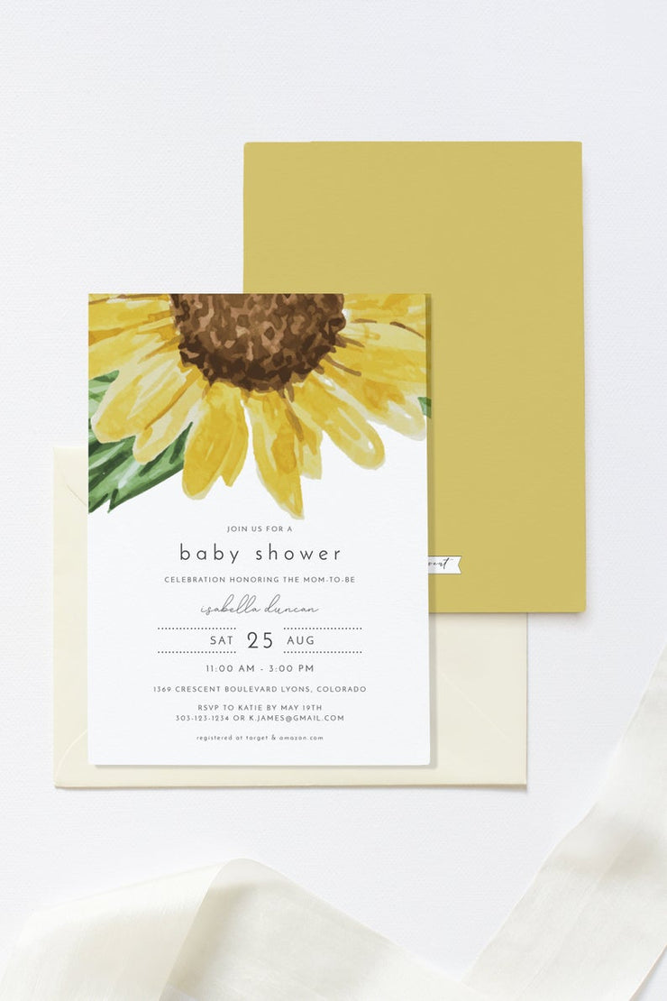 Emma - Watercolor Rustic Sunflower Baby Shower Invitation Template - Unmeasured Events