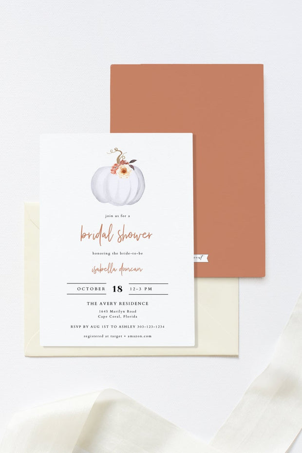 Amber - Fall Pumpkin Bridal Shower Invitation Template - Unmeasured Events