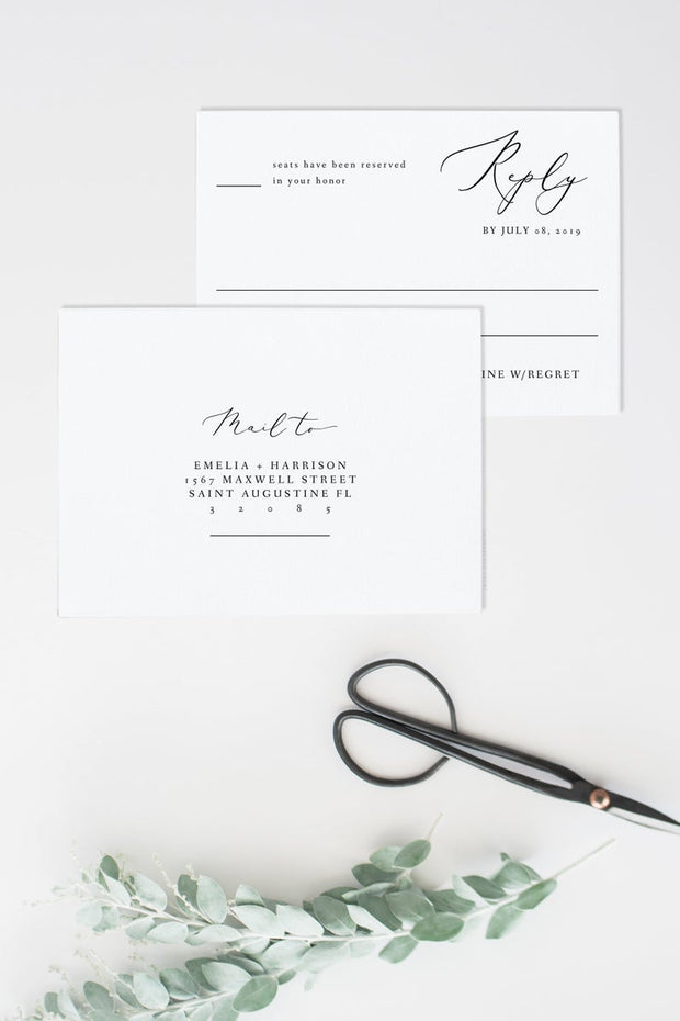 Evelyn - Elegant Minimal Wedding RSVP Card Template - Unmeasured Events