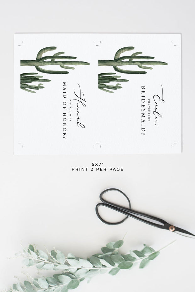 Eleanor- Bohemian Cactus Bridesmaid Proposal Card Template - Unmeasured Events