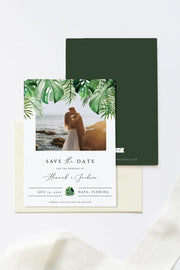 Cora - Modern Palm Tropical Photo Save the Date Template