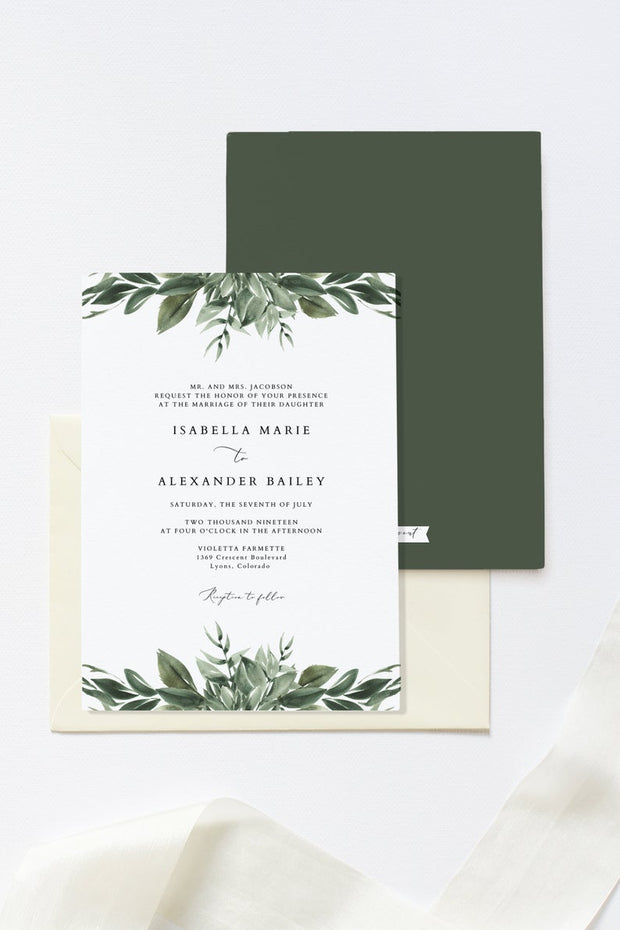 Lana - Traditional Wording Modern Greenery Wedding Invitation Template