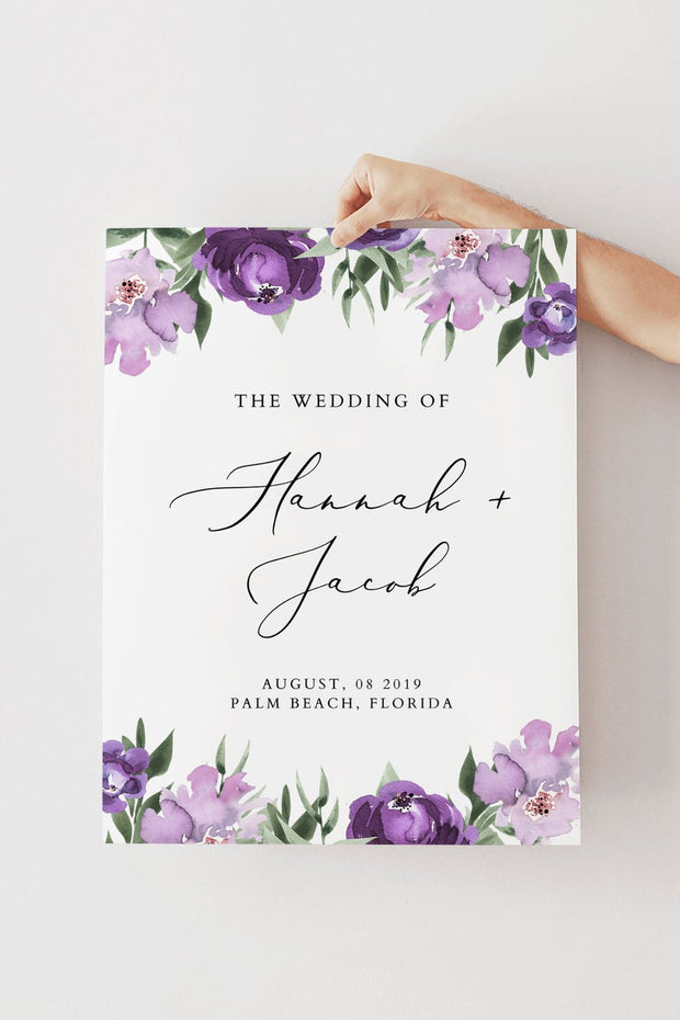 Lilah - Purple Floral Wedding Welcome Sign Template - Unmeasured Events