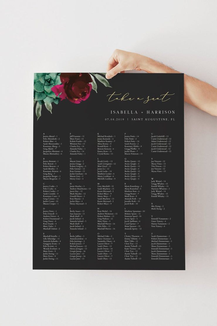 Amy - Burgundy Floral and Succulent Wedding Alphabetical Seating Chart Template