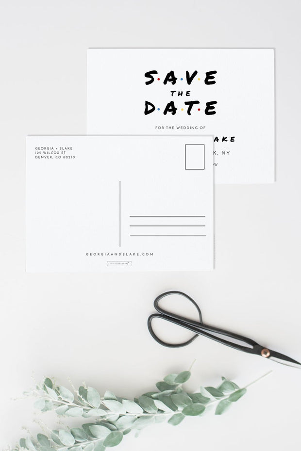 Rachel - Modern Friend Themed Wedding Save the Date Template