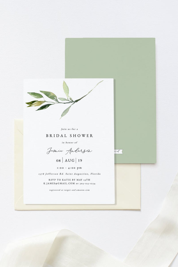 Isabella - Minimal Greenery Bridal Shower Invitation Template - Unmeasured Events